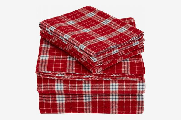 Pinzon Plaid Flannel Bed Sheet Set - Queen, Bordeaux Plaid