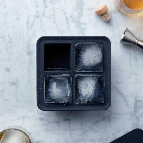 Peak Ice Works by W&P Design, Extra Large Ice Cube Tray in Blue, Silicone, 4 Cubes