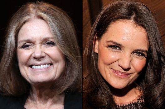 Activist Gloria Steinem and actress Katie Holmes