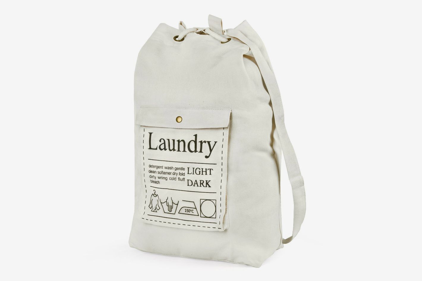 HBlife Spacious Drawstring Cotton Canvas Laundry Bag
