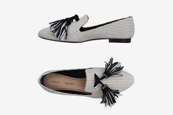 Proenza Schouler Tasseled Woven Canvas Loafers