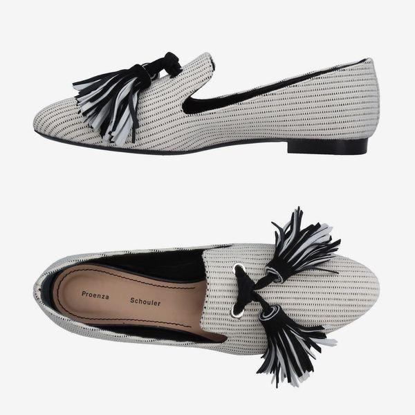 Proenza Schouler Tasseled Woven Canvas Loafers- strategist best slip on women's loafers with tassels