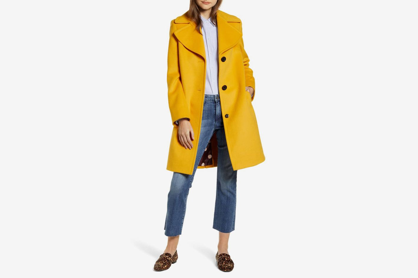 Sam Edelman Single Breasted Wool Blend Coat