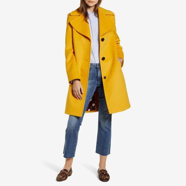 yellow sam edelman wool blend coat - strategist nordstrom anniversary sale