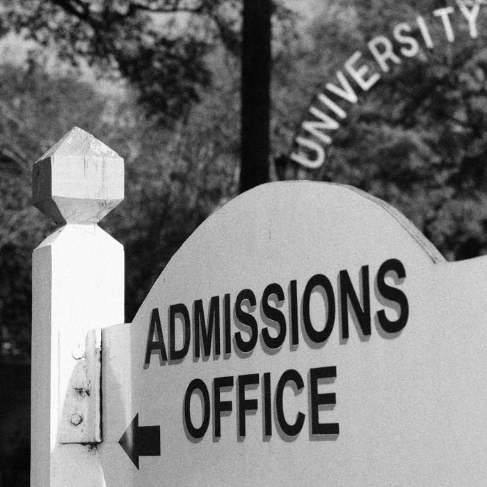 College admission sign.