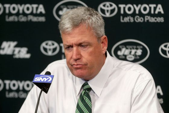 New York Jets NFl football head coach Rex Ryan participates in a news conference Tuesday, Jan. 8, 2013 in Florham Park, NJ.