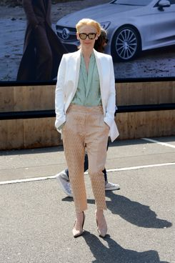 BERLIN, GERMANY - JULY 10:  Tilda Swinton attends the Roshi Porkar show during the Mercedes-Benz Fashion Week Spring/Summer 2015 at Erika Hess Eisstadion on July 10, 2014 in Berlin, Germany.  (Photo by Luca Teuchmann/Getty Images for IMG)
