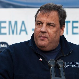 HOBOKEN, NJ - NOVEMBER 04: New Jersey Governor Chris Christie speaks at a joint press conference on November 4, 2012 in Hoboken, New Jersey. As New Jersey continues to clean up from Superstorm Sandy, worries are now growing for a new storm set to hit the state on November 7th. (Photo by Andrew Burton/Getty Images)