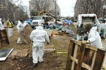 US National Park Service workers remove debris from the site of the Occupy DC encampment February 5, 2012 in McPherson Square in Washington, DC.  AFP PHOTO / MANDEL NGAN (Photo credit should read MANDEL NGAN/AFP/Getty Images)