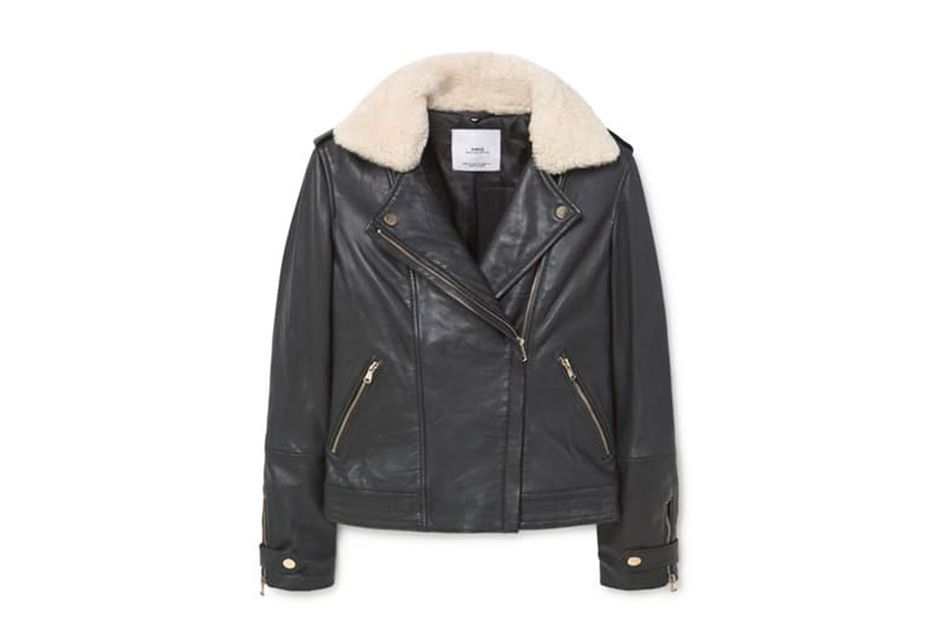 Mango Shearling-Lined Leather Jacket