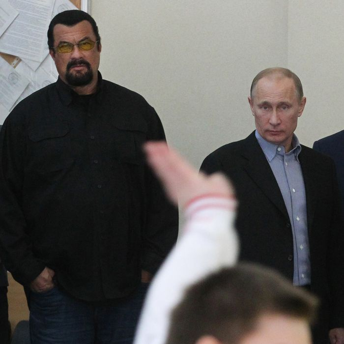 U.S. actor Steven Seagal and Russian President Vladimir Putin are seen visiting Sambo-70, a Russian martial art and combat sport school, March 13, 2013 in Moscow, Russia.
