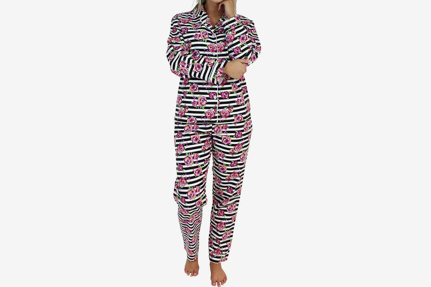 e543206b05 PajamaMania Women s Sleepwear Flannel Long Sleeve Pajamas