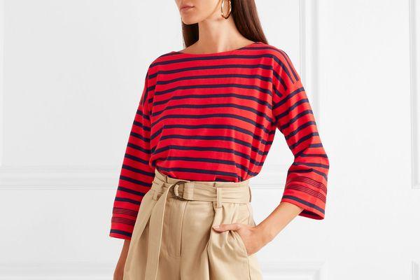 J.Crew Grosgrain-trimmed striped cotton-jersey top