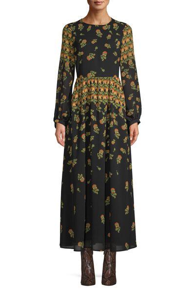 Scoop Blouson Sleeve Maxi Dress Floral Print Women's