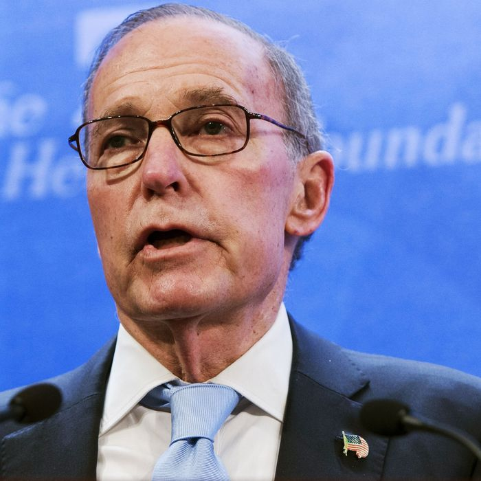 Larry Kudlow, a CNBC commentator, speaks about the economy during a panel discussion at the Heritage Foundation on December 18, 2014 in Washington,