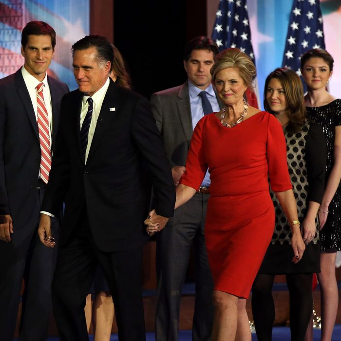 Republican presidential candidate, Mitt Romney, wife, Ann Romney, and family, walk off of the stage after conceding the presidency during Mitt Romney's campaign election night event on November 7, 2012 in Boston, Massachusetts.