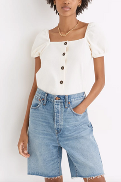 Madewell Jacquard Square-Neck Puff-Sleeve Top