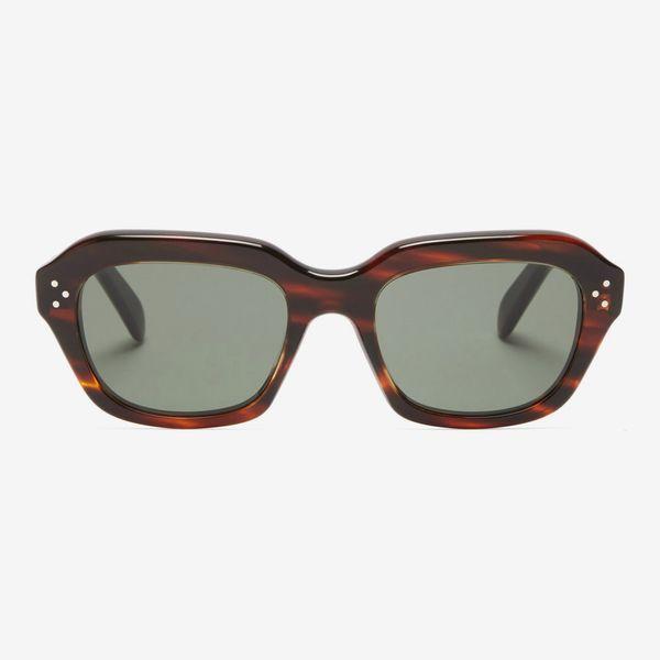 Celine Square Tortoiseshell-Acetate Sunglasses