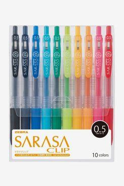 Zebra Sarasa Clip 0.5, 10 Color Set