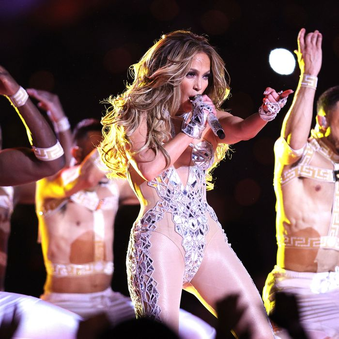 Jennifer Lopez performing at the 2020 Super Bowl halftime show.