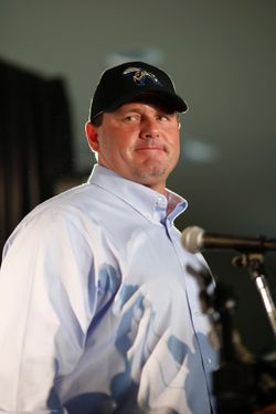 August 21, 2012, Sugar Land, Texas, United States: Roger Clemens signedto pitch for the minor league independent team, The Sugar Land Skeeters. The baseball superstar earned about $160 million and won 354 games in a 24-year career with the Red Sox, Blue Jays, Yankees and Astros. His 4,672 strikeouts are third-most and he was named to 11 All-Star games. Clemens was accused by former personal trainer Brian McNamee in the Mitchell Report on drugs in baseball of using steroids and HGH, allegations Clemens denied before Congress. In 2010 a grand jury indicted him on two counts of perjury, three counts of making false statements and one count of obstructing Congress. (F. Carter Smith/Polaris) ///