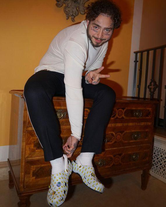 Post Malone Bangs: Justin Bieber Wears Jesus Slides, Post Malone Designs Crocs