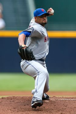 ATLANTA, GA - JULY 15:  Johan Santana #57 of the New York Mets pitches to the Atlanta Braves at Turner Field on July 15, 2012 in Atlanta, Georgia.  (Photo by Kevin C. Cox/Getty Images)