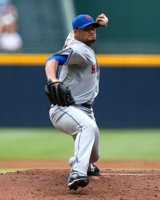 Johan Santana #57 of the New York Mets pitches to the Atlanta Braves at Turner Field on July 15, 2012 in Atlanta, Georgia.