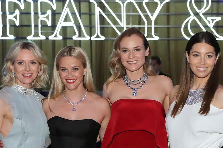 Naomi Watts, Reese Witherspoon, Diane Kruger, and Jessica Biel decked out in Tiffany & Co.