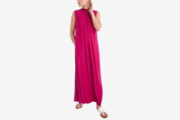 Scalloped Mock Neck Maxi Dress