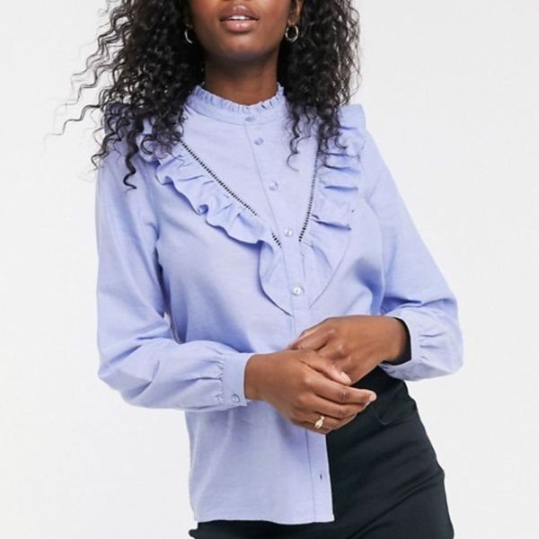 ASOS New Look Frill Detail Shirt Blouse