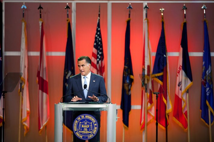 Republican presidential candidate and former Massachusetts Gov. Mitt Romney addresses the NAACP National Convention at the Geoerge R. Brown Covention Center at the Geoerge R. Brown Covention Center July 11, 2012 in Houston, Texas. Romney spoke about jobs and reducing government spending, including the Affordable Heathcare Act, during the address.