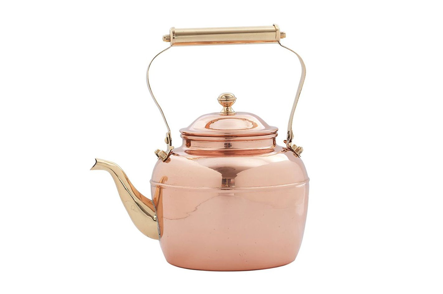 Old Dutch Solid Copper Teakettle With Brass Handle