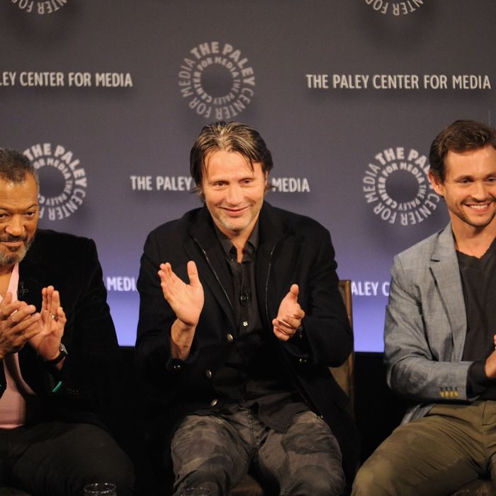 NEW YORK, NY - OCTOBER 18: (L-R) Laurence Fishburne, Mads Mikkelsen and Hugh Dancy attend the 2nd annual Paleyfest New York presents: