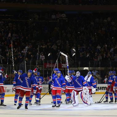 The New York Rangers celebrate their victory over the Carolina Hurricanes at Madison Square Garden on March 18, 2013 in New York City. The Rangers defeated the Hurricanes 2-1 in the shootout.