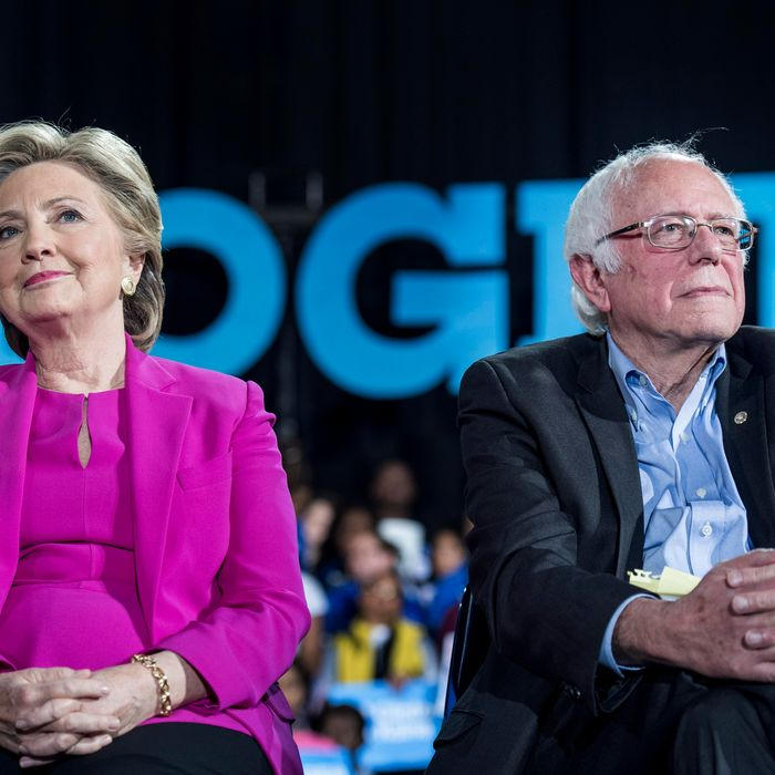 Democratic Nominee for President of the United States former Secretary of State Hillary Clinton, with Senator Bernie Sanders (I-VT) during a rally in Raleigh, North Carolina Thursday November 3, 2016.