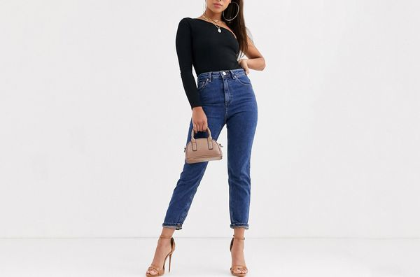 ASOS DESIGN Petite Recycled Farleigh High Waisted Slim Mom Jeans