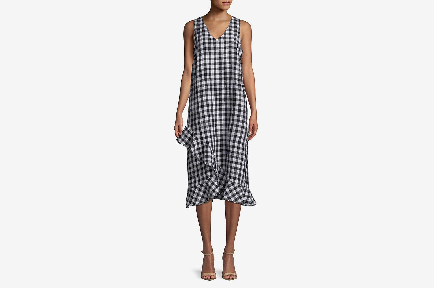 Lord & Taylor Gingham Ruffle Dress