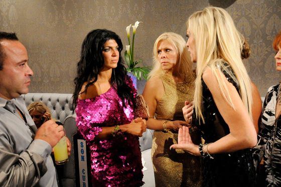 "REAL HOUSEWIVES OF NEW JERSEY -- ""Porsche Fashion Show"" -- Pictured: (l-r) Joe Giudice, Teresa Giudice, Kim D -- (Photo by: Andrei Jackamets/Bravo)"