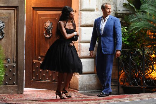 Naomi Campbell and boyfriend Vladislav Doronin attend the Dolce and Gabbana fashion show in Taormina, Italy.