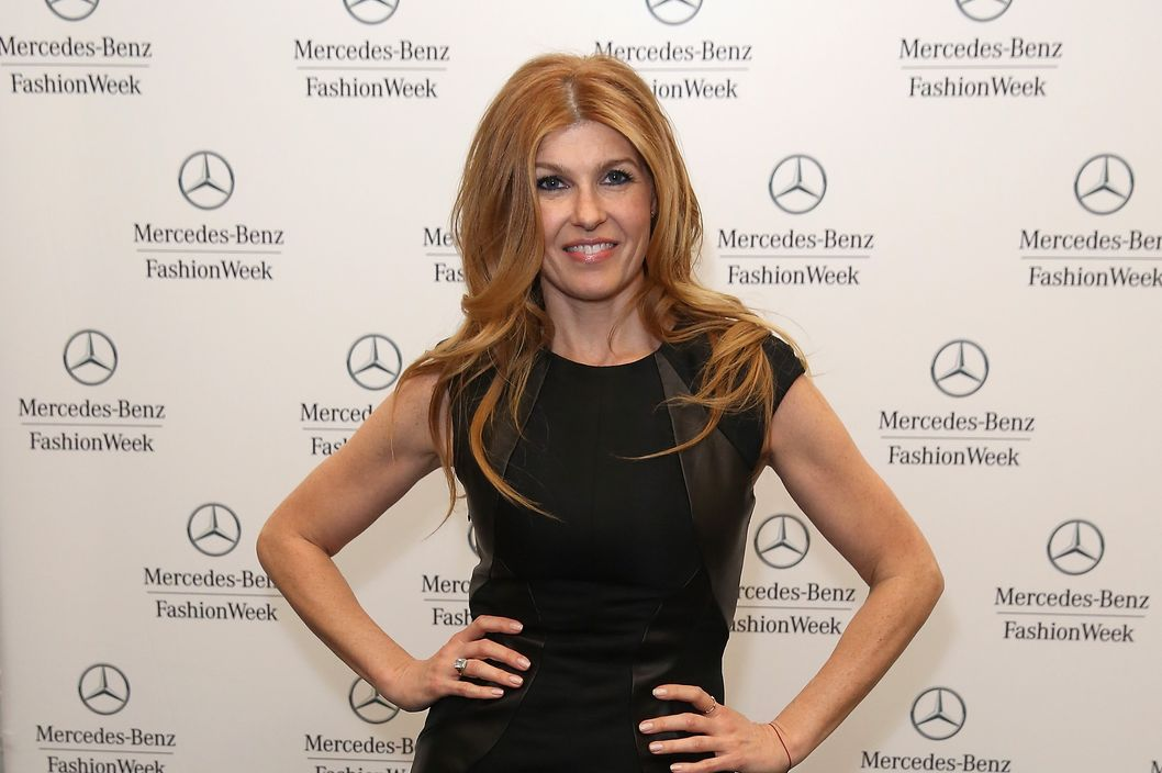 NEW YORK, NY - FEBRUARY 09:  Actress Connie Britton poses backstage at the Monique Lhuillier Fall 2013 fashion show during Mercedes-Benz Fashion Week at The Theatre at Lincoln Center on February 9, 2013 in New York City.  (Photo by Chelsea Lauren/Getty Images for Mercedes-Benz Fashion Week)