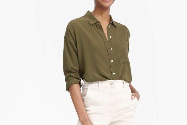 Everlane the Clean Silk Oversize Shirt