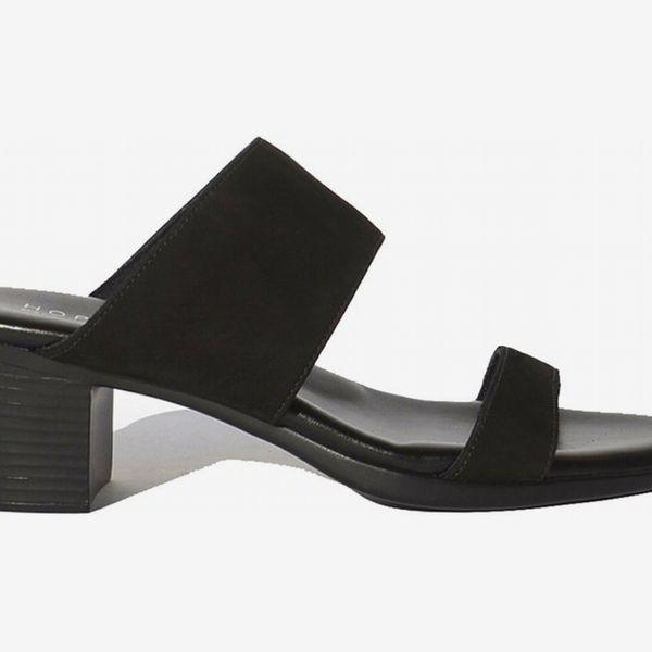 Hopp two strap sandal, black nubuck