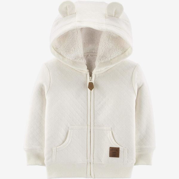 Simple Joys by Carter's baby hooded sweater jacket with sherpa lining, oatmeal