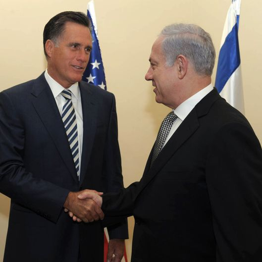 JERUSALEM, ISRAEL - JANUARY 13:  (ISRAEL OUT) In this handout from the Israeli GPO, Prime Minister Benjamin Netanyahu meets with former Governor of Massachussets Mitt Romney (L) in the Prime Minister's residence on January 13, 2011 in Jerusalem, Israel. Romney, who ran for US president in 2008 is considering another run in 2012.  (Photo by Amos BenGershom/GPO via Getty Images)