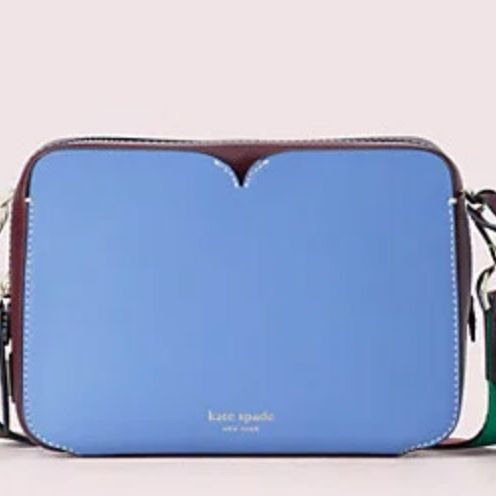 Kate Spade Candid Medium Camera Bag - strategist best blue and brown leather camera bag with removable strap
