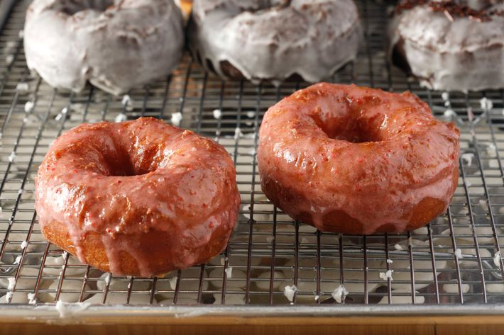 Yeast doughnut with strawberry glaze.