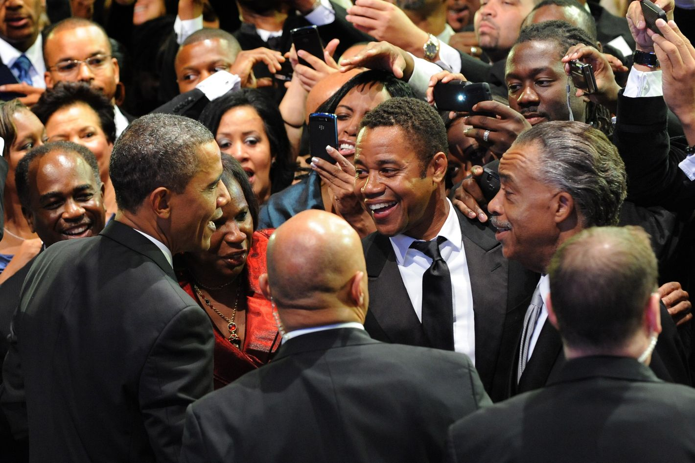 Actor Cuba Gooding Jr. (C) and Democratic Representative from New York Charles Rangel speak with US President Barack Obama as he greets wellwishers after addressing the Congressional Black Caucus Foundation Annual Phoenix Awards at the Washington Convention Center.on September 24, 2011.    AFP PHOTO/Nicholas KAMM (Photo credit should read NICHOLAS KAMM/AFP/Getty Images)