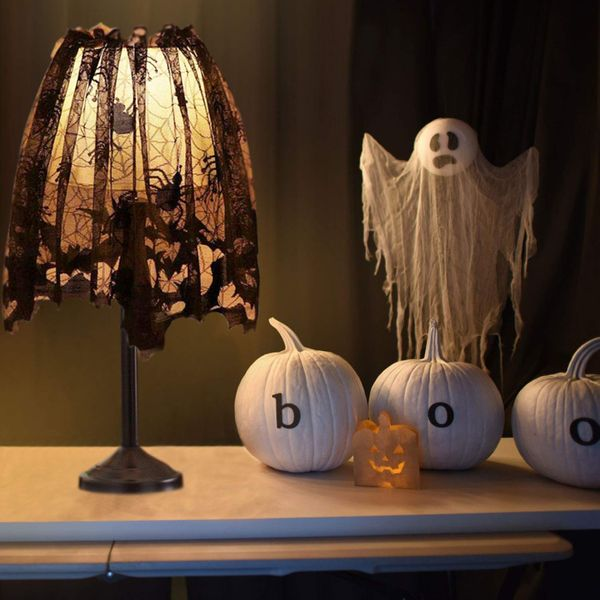 Black Lace Halloween Lamp Shade Cover Decoration (Set of 3)