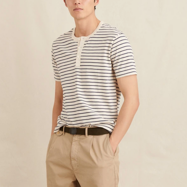 Alex Mill Henley Tee in Striped Slub Cotton